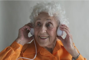 old woman headphone crop