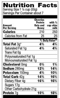 Cheerios protein nutrition label