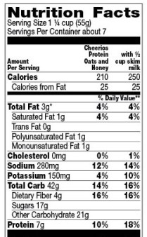Cheerios protein nutrition label